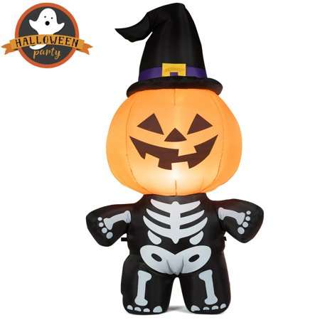 Halloween Inflatable Decorations Sale (Gymax 5ft Inflatable Capped Pumpkin Skeleton Lantern Halloween Blow Up Witch Hat Decoration)