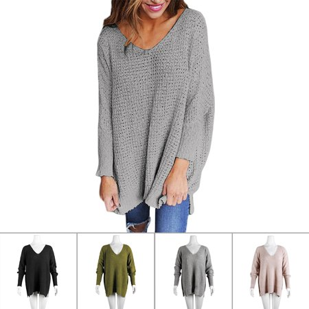 Women's Casual Plus Size V-neck Knit Sweater Loose Pullover Cardigan, Gray