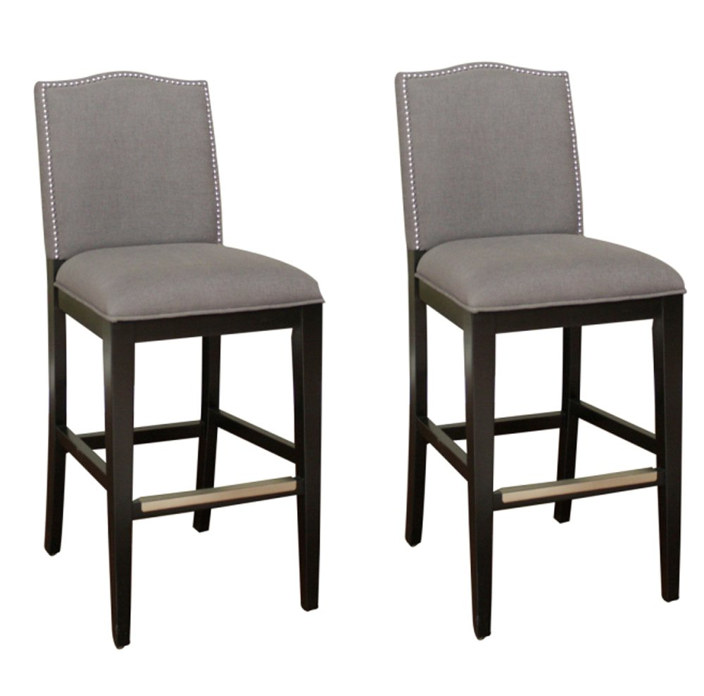 Ahb Chase Bar Stool Black With Smoke Linen Upholstery