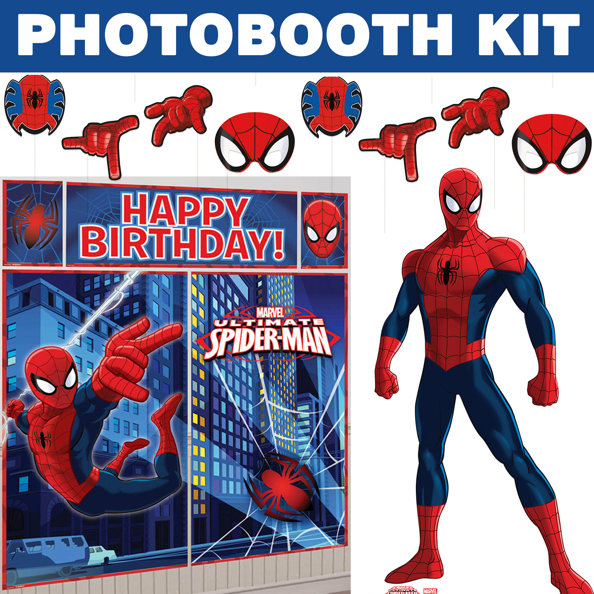 Spiderman Ultimate Photo Booth Kit - Party Supplies