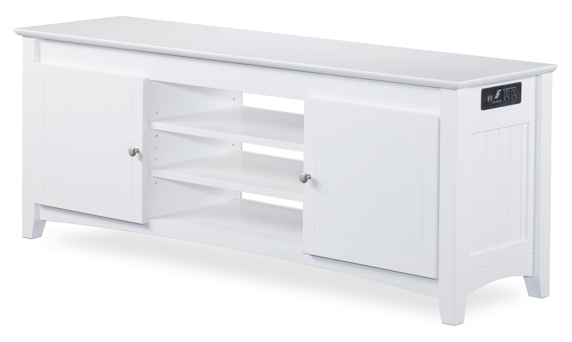 Nantucket TV Table 24x60 with Adjustable Shelves and Charging Station in White by Atlantic Furniture