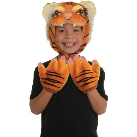 Toddler Brown Tiger Animal Pack Hood & Mitts Halloween Costume Accessories