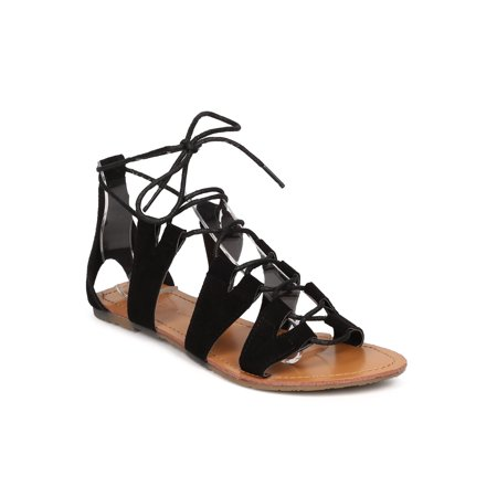 Women Faux Suede Gladiator Sandal - Casual, Costume, Everday - Lace Up Sandal - GD82 By Wild Diva