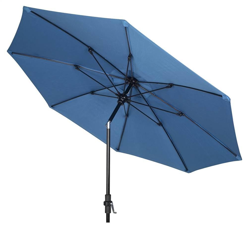 9 ft. Wind Resistant Market Umbrella w Crank and Collar tilt (Pacific Blue, Black)