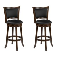 CorLiving Woodgrove Brown Wood Bar Height Barstool with Bonded Leather Seat, set of 2