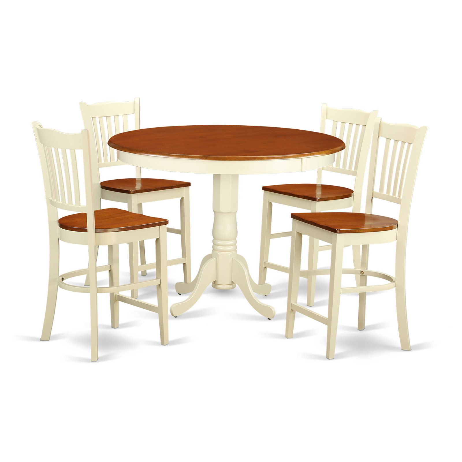 East West Furniture Trenton 5 Piece Comb Back Dining Table Set