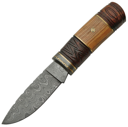 Damascus 1082 Mosaic Hunter Fixed Blade Knife + Sheath