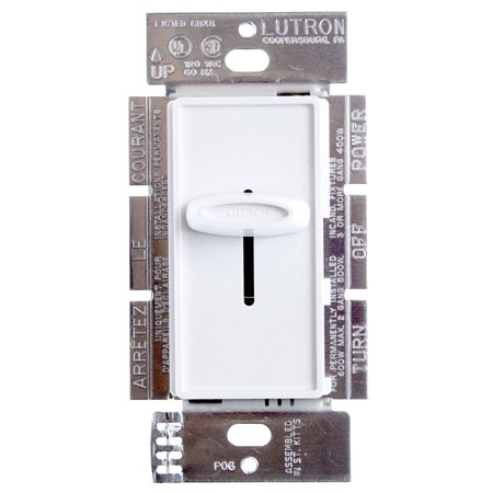 Lutron S-600-Wh Skylark Single Pole Dimmer With On/Off Switch, 600-Watt,