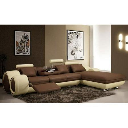 Tosh Furniture Italian Design Mini Franco Sectional Sofa Brown Beige