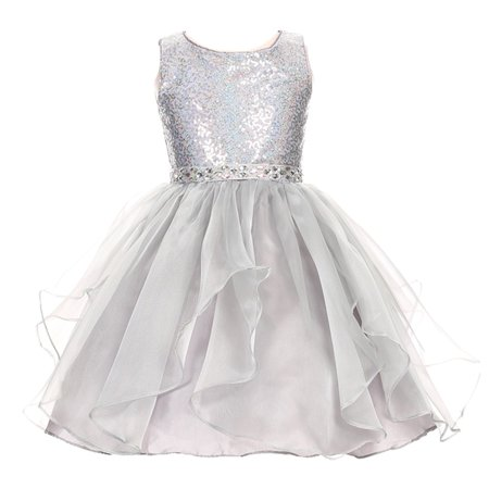Girls Silver Sparkle Sequin Organza Rhinestone Occasion Dress