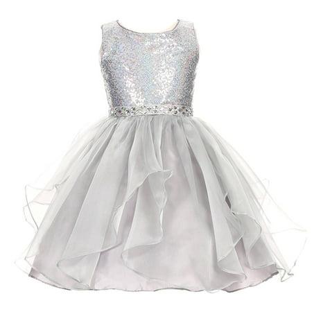 Girls Silver Sequin (Girls Silver Sparkle Sequin Organza Rhinestone Occasion)