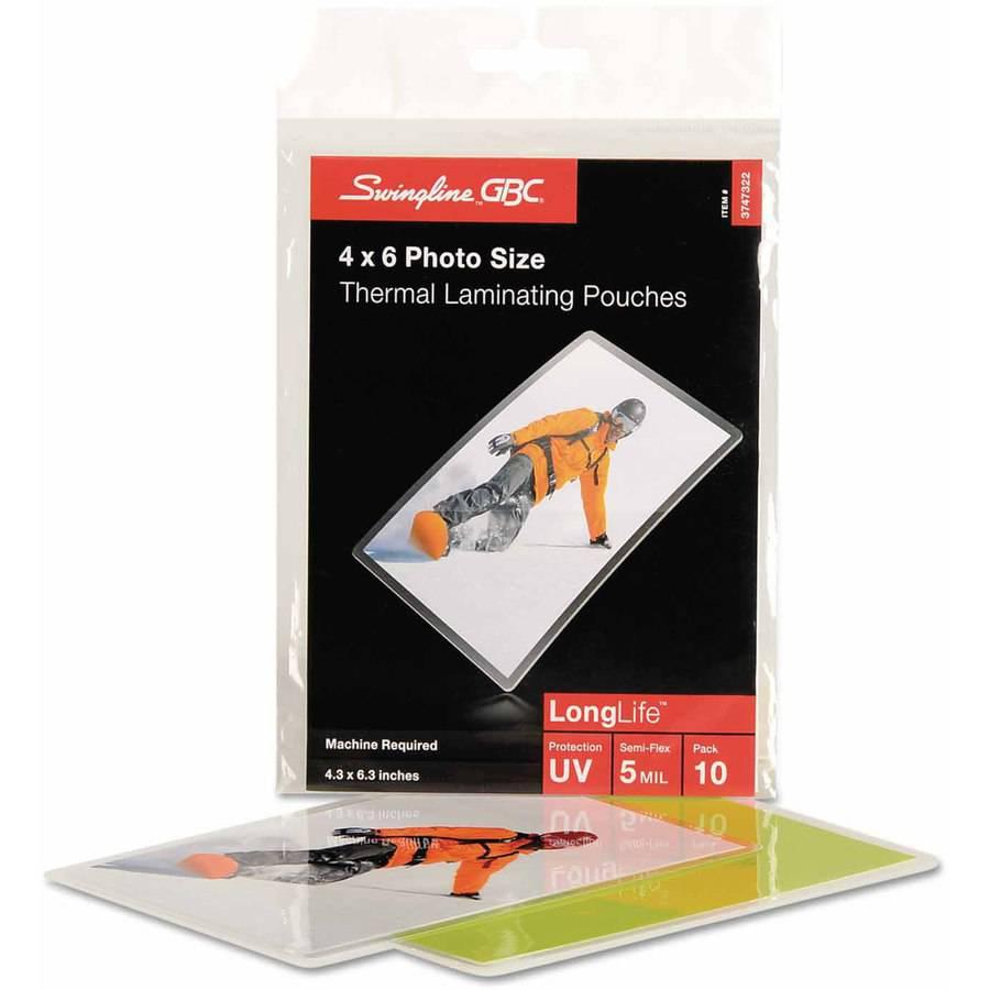 "Swingline GBC Fusion LongLife Premium Laminating Pouches, 5 mil, 4-1/4"" x 6-5/16"", 10pk"