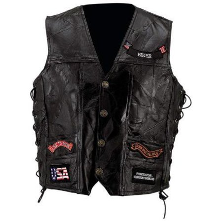 Rock Design Genuine Buffalo Leather Vest- -