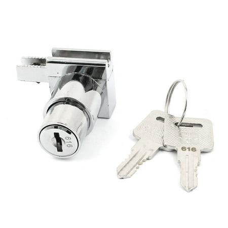 "Retangle Base 0.2"" Thickness Glass Cabinet Showcase Sliding Door Lock w Keys - image 3 de 3"