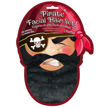 Pirate Black Facial Hair Set Moustache - Pirate Facial Hair