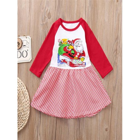 Toddler Kids Baby Girls Santa Claus Splice Dress Christmas Party Dress Outfits - Childs Santa Outfit