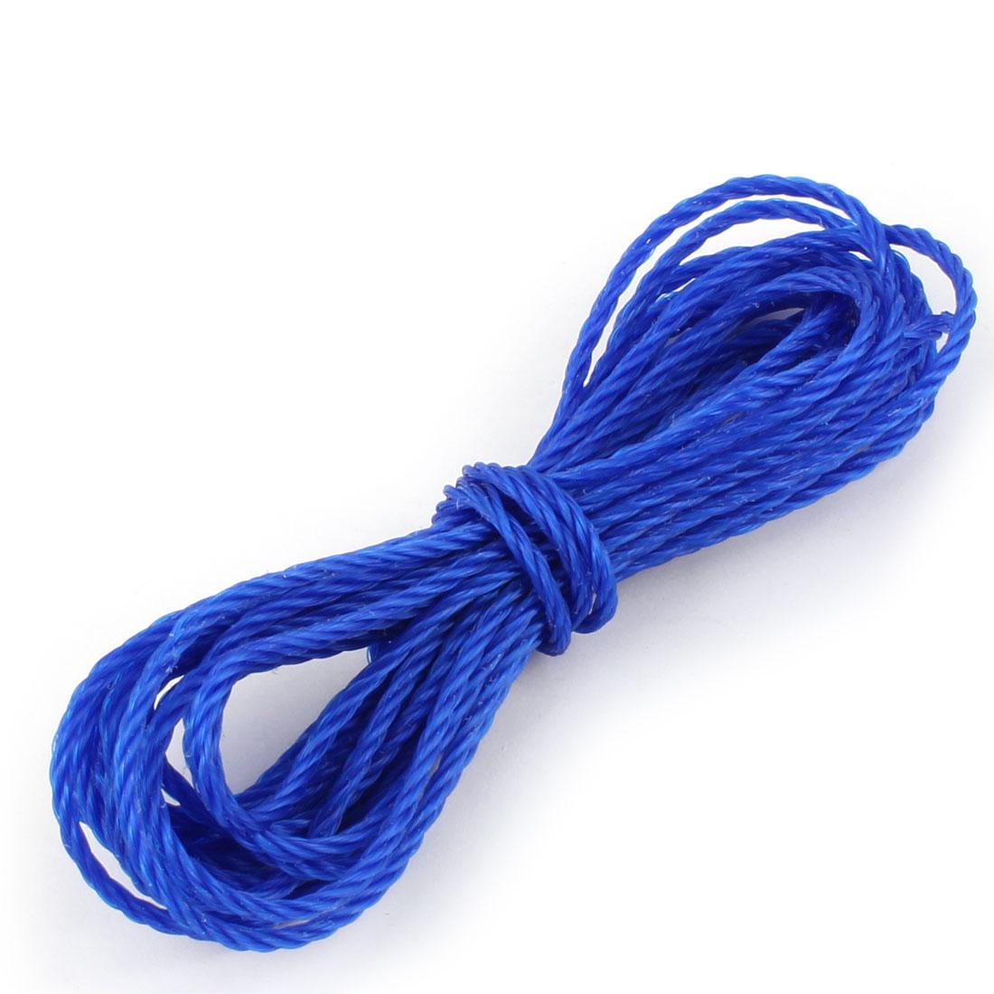 Household Outdoor Nylon String Clothes Line Clothesline Dark Blue 5m Length