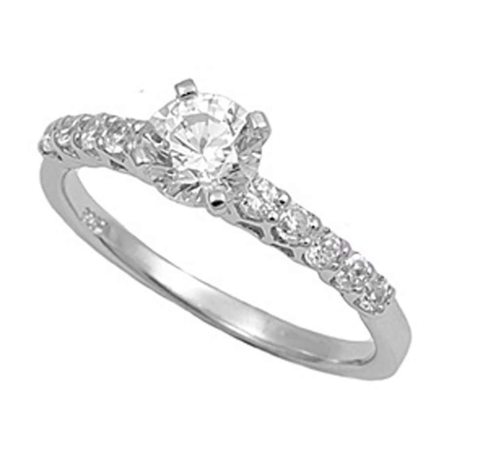 Sterling Silver Women's Clear CZ Engagement Ring ( Sizes 4 5 6 7 8 9 10 11 12 ) Promise 925 Band 6mm Rings by Sac Silver (Size 5)