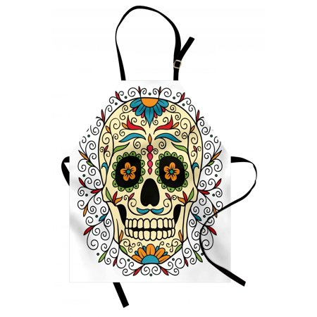 Sugar Skull Apron Catrina Calavera Featured Figure Ornaments Macabre Remember the Dead Theme, Unisex Kitchen Bib Apron with Adjustable Neck for Cooking Baking Gardening, Multicolor, by