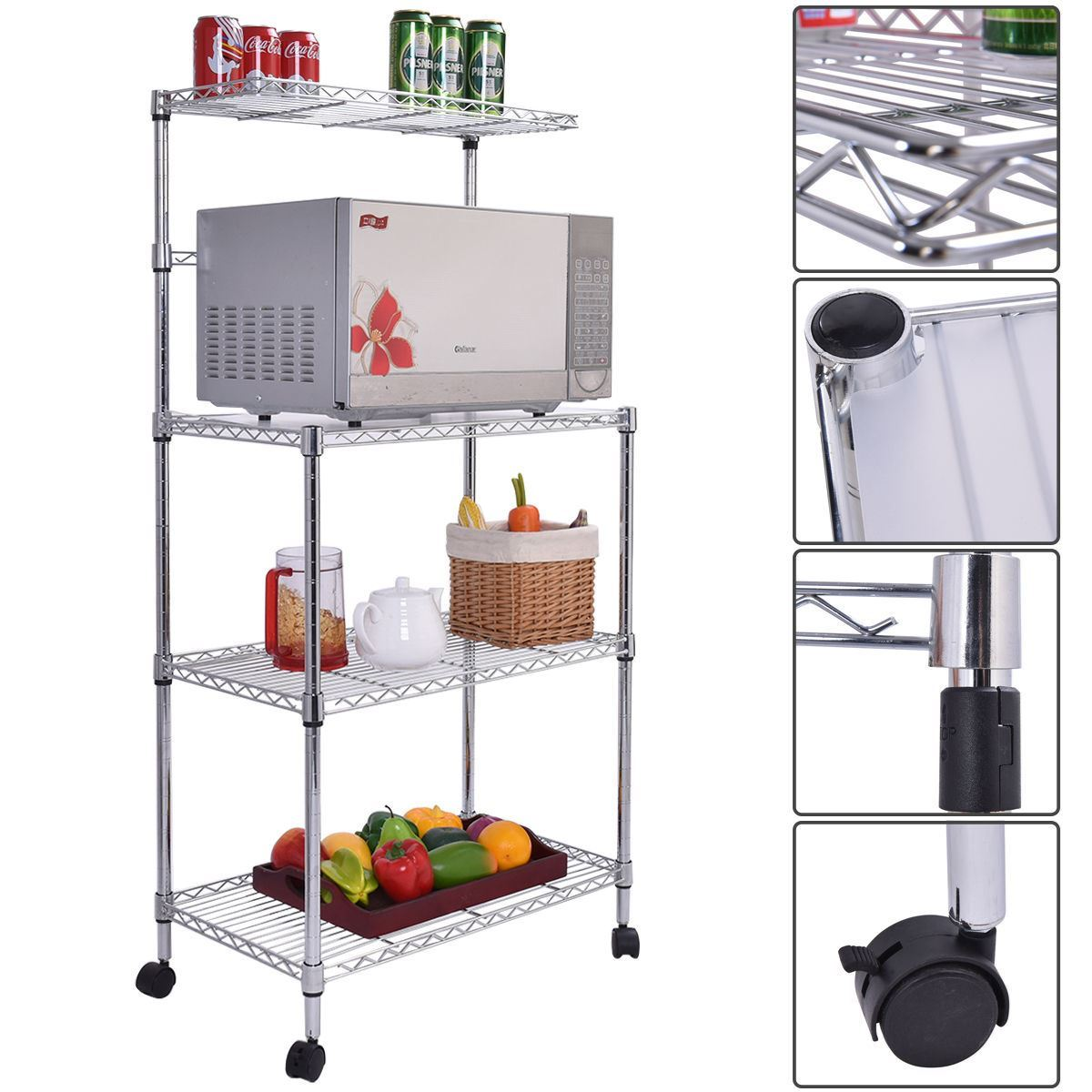 Kitchen Baker's Rack Microwave Oven Stand Storage Cart Wo...