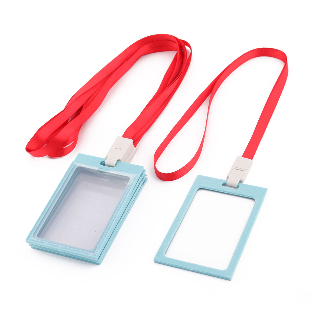 Office Staff Neck String Lanyard Vertical ID Card Holder Container Blue Red 5pcs