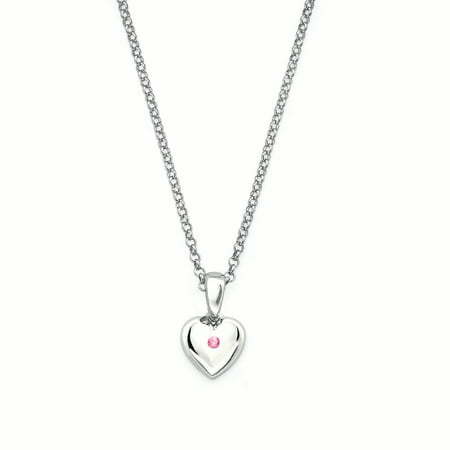 925 Sterling Silver Heart Shaped Simulated Pink Tourmaline Birthstone Pendant Necklace w/ 16 Chain for Girls