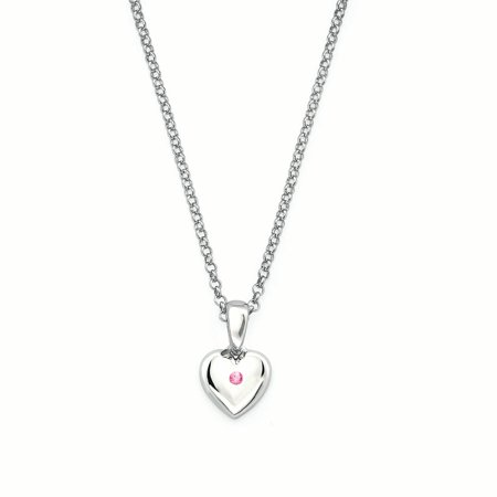 - 925 Sterling Silver Heart Shaped Simulated Pink Tourmaline Birthstone Pendant Necklace w/ 16 Chain for Girls