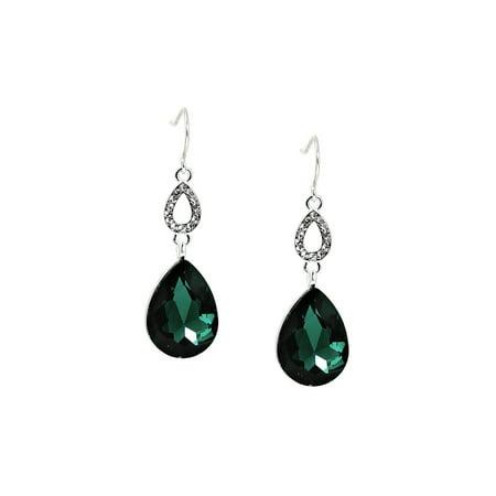 Silver Crystal Rhinestone in Teardrop Shape with Large Emerald Green Teardrop Dangle Stone Earrings
