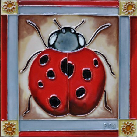 Continental Art Center Ladybug Framed in Red Tile Wall Decor