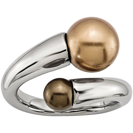Stainless Steel Champagne & Brown Simulated Pearl Ring Champagne Diamond Simulated Ring