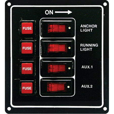 SeaSense 4 Gang 12-Volt Rocker Switch Panel ()