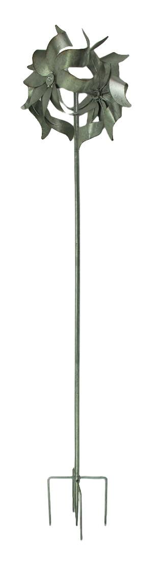 Galvanized Zinc Finish Metal Double Pinwheel Windmill Garden Stake by TRANSPAC