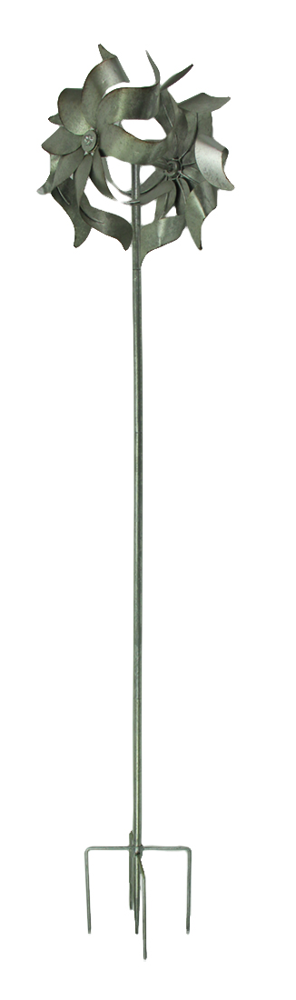 Galvanized Zinc Finish Metal Double Pinwheel Windmill Garden Stake