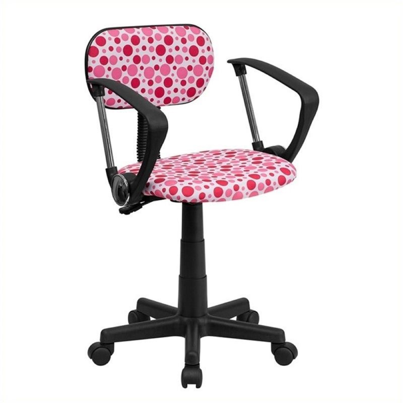 Scranton & Co Dot Printed Office Chair with Arms in Pink and White