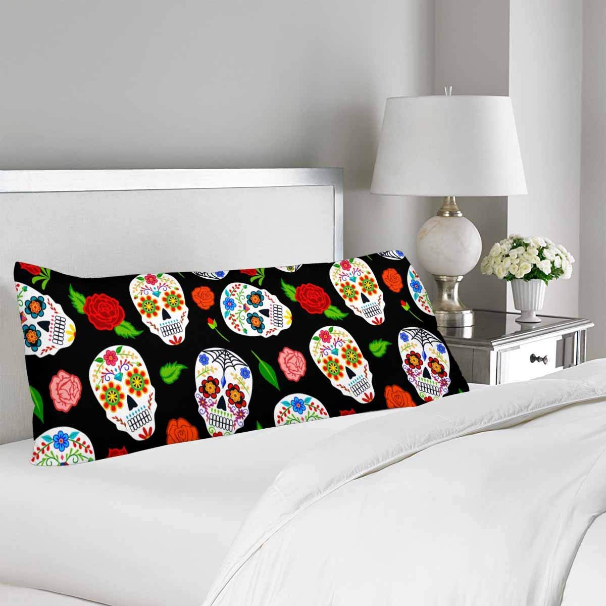 GCKG Mexican Dia Los Muertos Sugar Skulls Roses Pillow Covers Pillowcase 20x60 inches, Body Pillow Case Protector - image 1 of 2