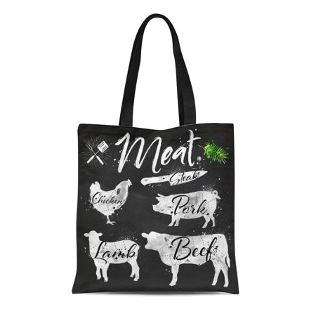 LADDKE Canvas Tote Bag Meat Symbols Beef Pork Chicken Lamb Silhouettes Reusable Shoulder Grocery Shopping Bags Handbag