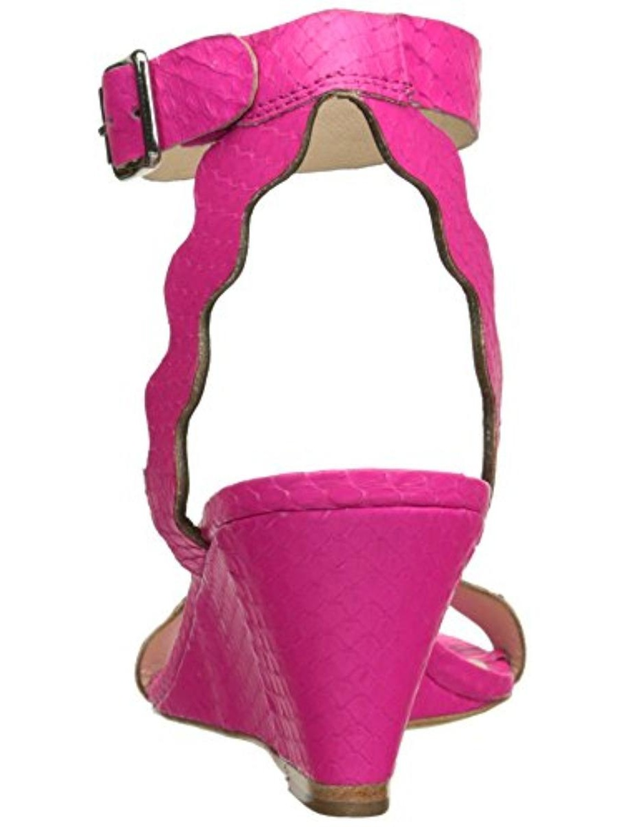 Loeffler Randall Leather Womens Minnie Leather Randall Scalloped Wedge Sandals e96ff6
