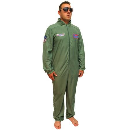 5621a38c7a5b Top Gun Costume Adult Maverick Flight Suit Mens Union Suit Pajama Lounger -  Walmart.com