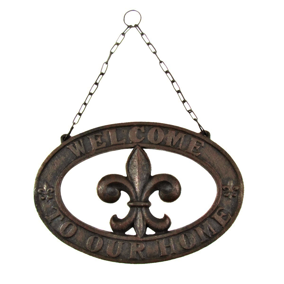 Cast Iron French Fleur De Lis Welcome Sign Rustic Home/Wall/Front Door Decor
