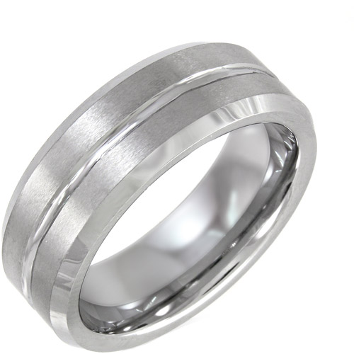 Men's Grooved Ring in Tungsten