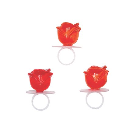 Fun Express - Rose Shaped Ring Sucker for Valentine's Day - Edibles - Sucker & Pop - Ring & Pacifier Suckers - Valentine's Day - 12 Pieces - Ring Pops