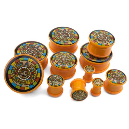 0 Gauge (0G - 8mm) Orange Aztec Plugs / Gauges - Single Flare (2