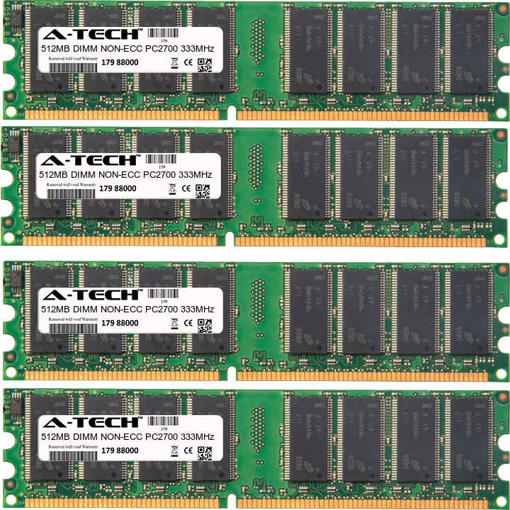 2GB Kit 4x 512MB Modules PC2700 333MHz NON-ECC DDR DIMM Desktop 184-pin Memory Ram