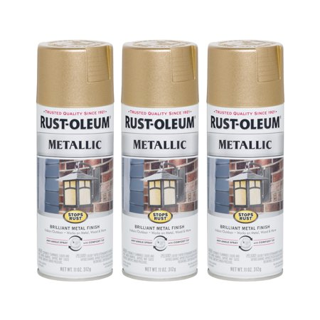 - (3 Pack) Rust-Oleum Stops Rust Vintage Metallic Spray Paint, Rose Gold