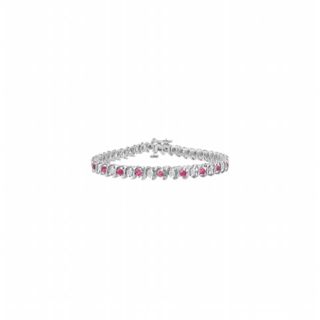 Fine Jewelry Vault UBUBRAGRD155100CZPS Created Pink Sapphire & CZ S Tennis Bracelet 925 Sterling Silver - 1 CT TGW , 25 Stones