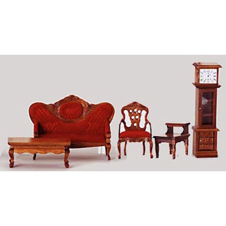Dollhouse Victorian Living Room, 5, Red, Walnut
