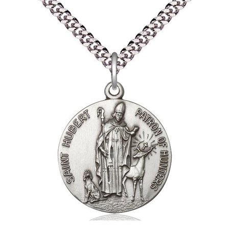 "Bliss St. Hubert of Liege Patron Saint Medal in Sterling Silver with 24"" Light Rhodium Heavy Curb Chain"