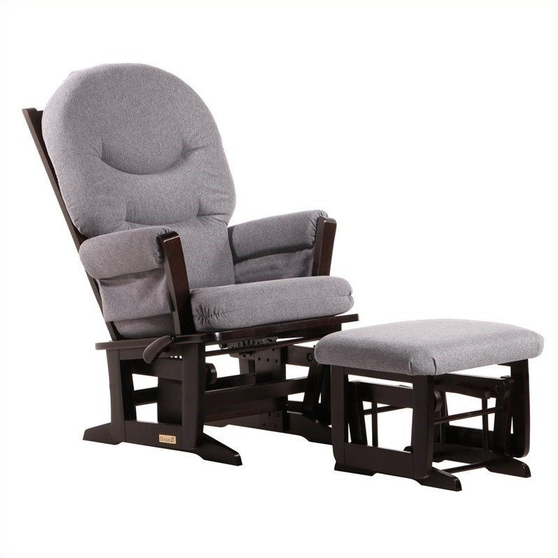 Dutailier, Modern Glider With Ottoman-Color:Espresso/Dark Grey
