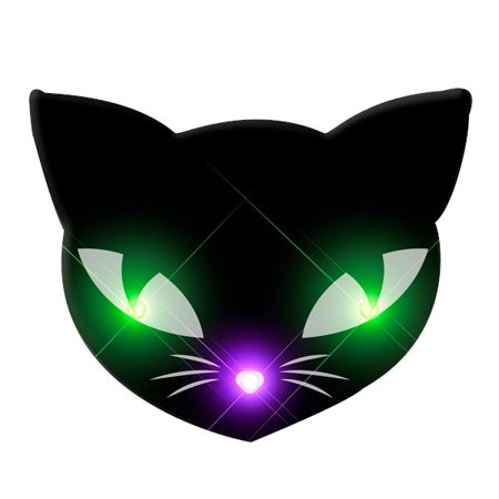 Black Kitty Cat Glowing Green Spooky Halloween Eyes Flashing Blinky Light Necklace - Cats Eyes Halloween
