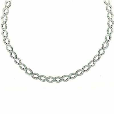 Pave Simulated Diamond CZ interlaced double circle Necklace